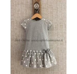 Vestido niña de Pilar Batanero gris algodón
