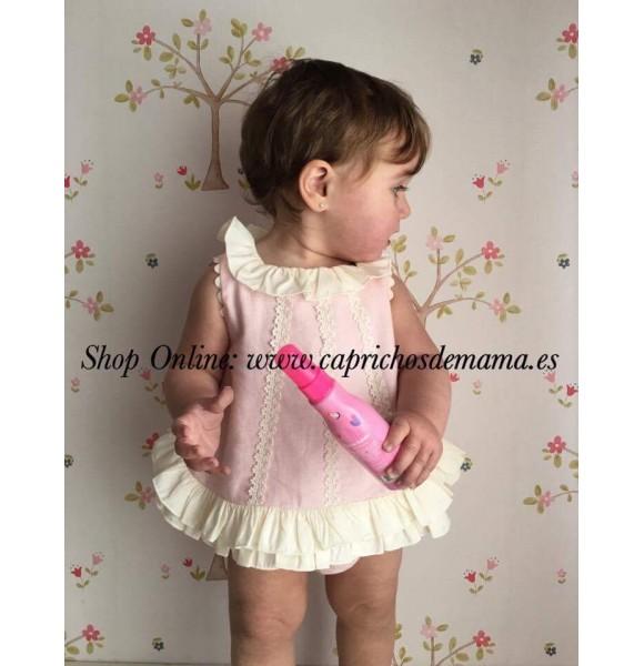 d57ab2da0 Jesutito bebé niña de Nini rosa y crudo | Ropa Infantil