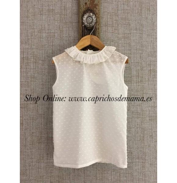 nuevo producto ff604 ba23b Blusa niña de Badum Badero plumeti blanca | Ropa Infantil