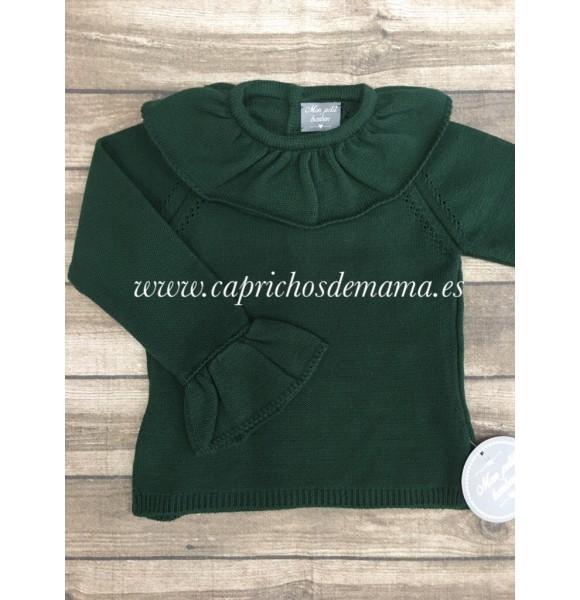 7b4a6ce68848 Jersey niña de Mon Petit verde botella   Ropa Infantil