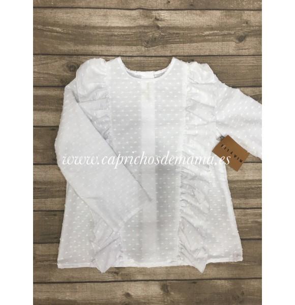 Camisa niña de Mía y Lia volante plumeti