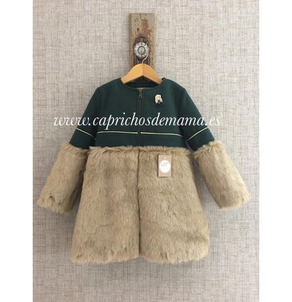 bien baratas gran venta gran inventario Abrigo niña de Noma Fernández verde botella pelo | Ropa Infantil