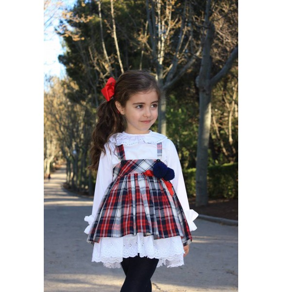 6d1f4c11a Conjunto niña blusa y falda con tirantes de Lapeppa| Ropa Infantil