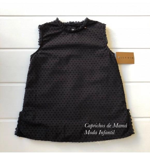 Camisa niña de Mía y Lía plumeti negro