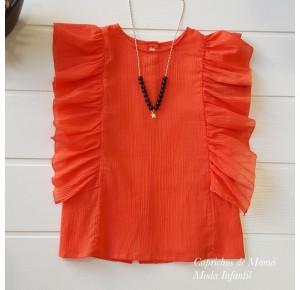 Camisa niña de Mía y Lía coral con volantes