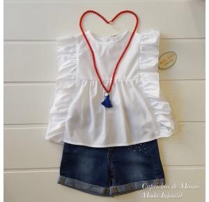 Camisa niña de Baby Yiro blanca volantes