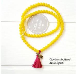 Collar bolas amarillas con elefante de Mon Petit