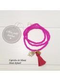 Collar bolas rosas con amuletos de Mon Petit