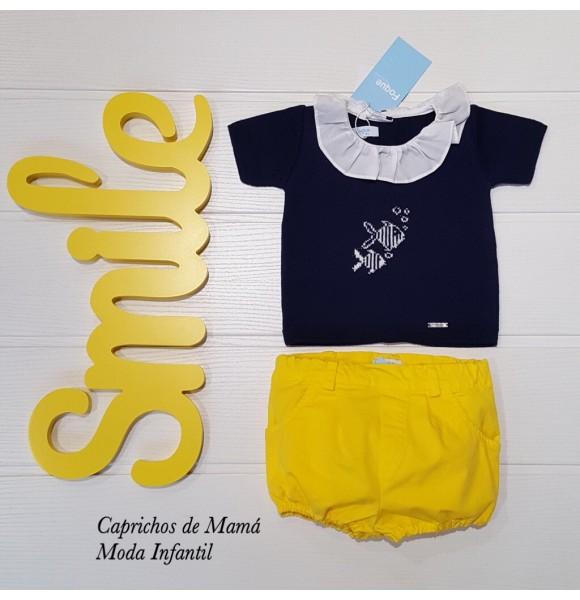 Conjunto bombacho bebé niño de Foque amarillo