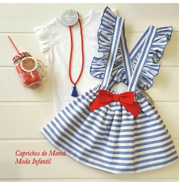23090f75f Falda tirantes niña de Mon Petit rayas azul y blanco | Ropa Infantil