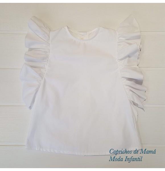 Camisa niña de Mía y Lía blanca volantes