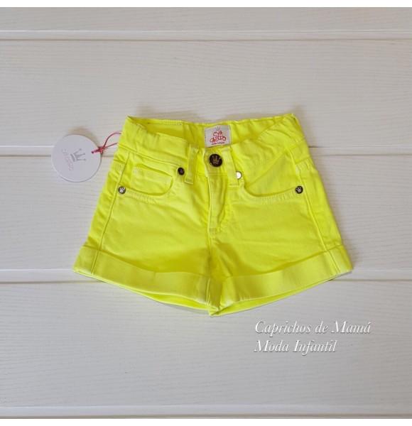 21cd6beb4 Short niña de Eva Castro amarillo flúor | Ropa Infantil