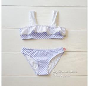 Bikini niña Blanca de Sonia Roura vichy azul