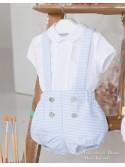 Conjunto bebé niño Bailén de Yoedu piqué azul y blanco