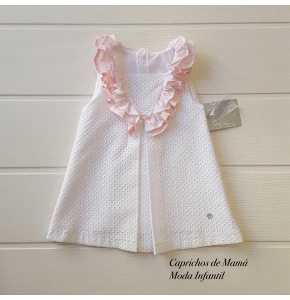 73f67b3964b9 Vestido bebé niña Valparaíso de Yoedu blanco y rosa | Ropa Infantil