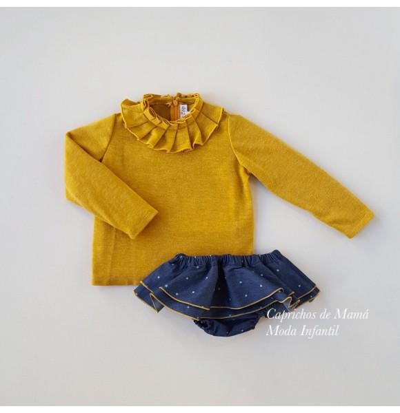 Conjunto niña jersey y braguita de Lapeppa denim