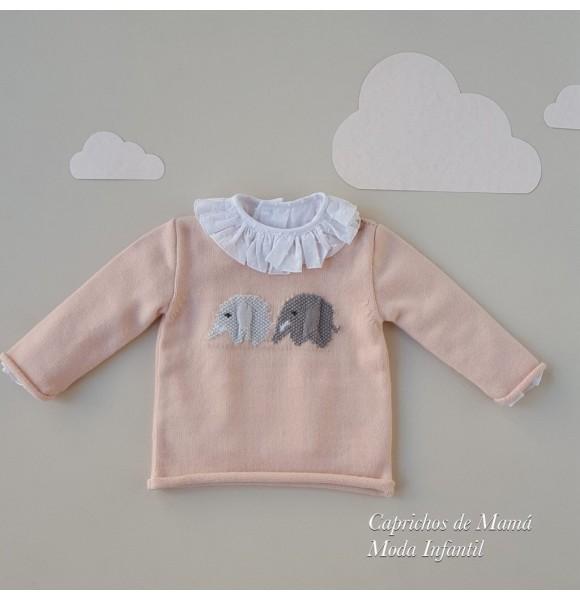 Jersey bebé niña de Rosita punto rosa elefantes