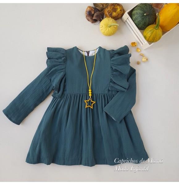 Vestido niña de Mía y Lía bámbula verde