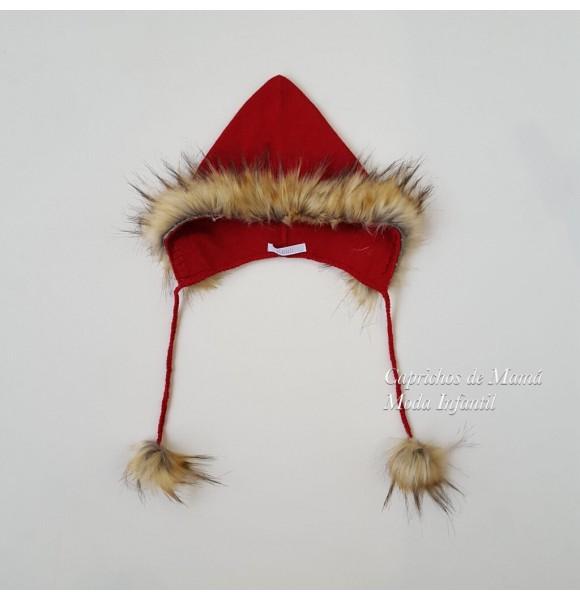Gorro capucha Tartán de Kauli rojo con pompones