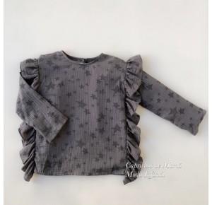 Camisa niña de Mía y Lía bámbula gris estrellas