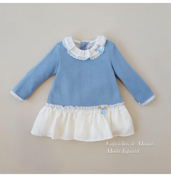 Vestido bebé niña Duendes de Yoedu punto azul