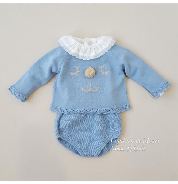 Conjunto bebé niño Duendes de Yoedu ranita punto azul
