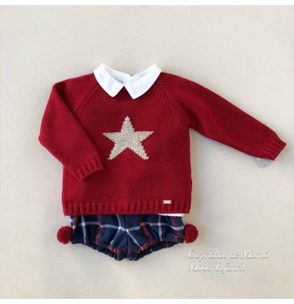 Conjunto bebé niño Estrella de Yoedu granate y marino