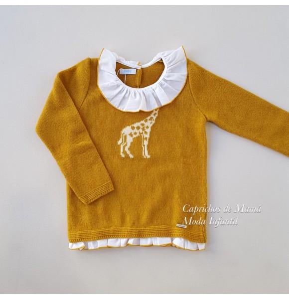 Jersey niña de Foque mostaza dibujo jirafa