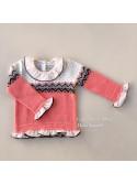 Jersey niña de Foque rosa con greca jacquard