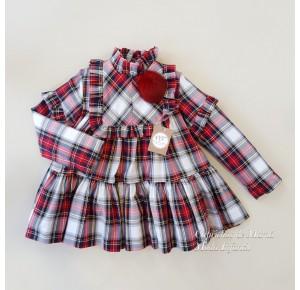 Vestido niña Faro de Noma Fernández cuadro rojo