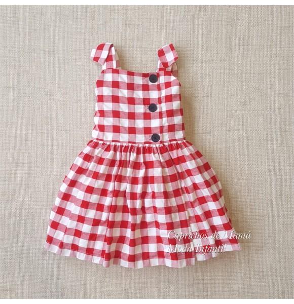 Vestido Niña De Mon Petit Cuadros Rojo Ropa Infantil