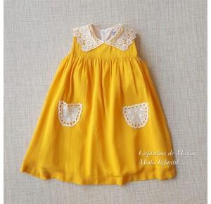 Vestido niña de Mon Petit bámbula mostaza