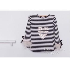Sudadera niña Pop de Kauli rayas en blanco y negro