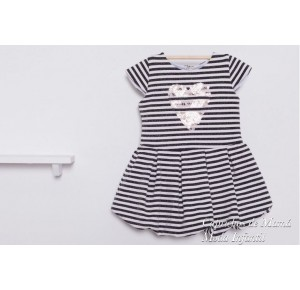 Vestido niña Pop de Kauli rayas en blanco y negro