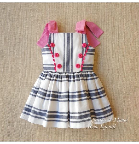 b215c30e4 Vestido niña de Nini rayas blanco y azul con rosa | Ropa Infantil