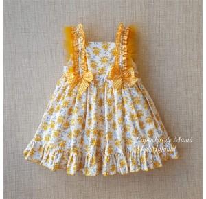 Vestido niña Mimosa de Lolittos amarillo plumas