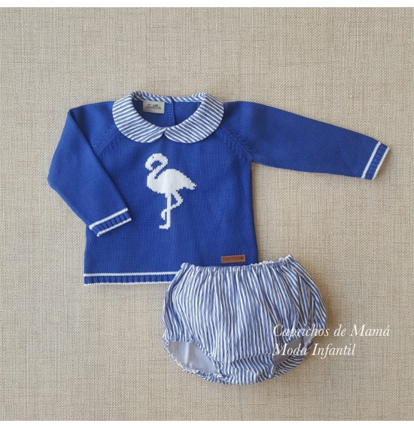 Conjunto bebé niño bombacho Flamenco de Lolittos azul