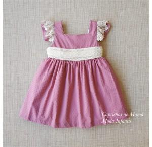 Vestido niña Ceremonia de Pilar Batanero plumeti rosa
