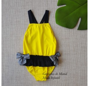 Bañador niña de Mon Petit amarillo y negro