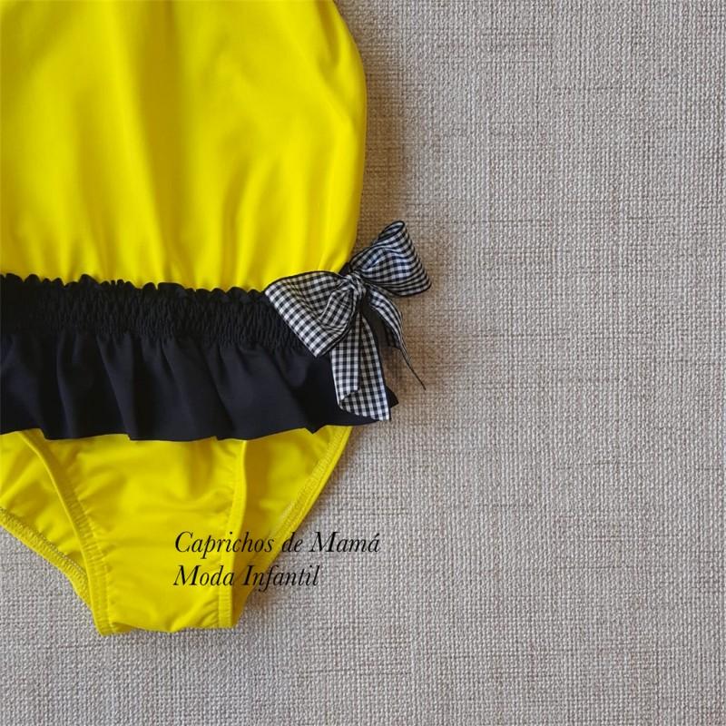 5e063ae6e3fd Bañador niña de Mon Petit amarillo y negro | Ropa Infantil