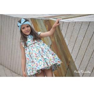 Vestido niña Menta de Noma Fernández pájaros