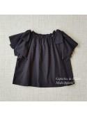 Camisa niña de Mía y Lía plumeti negro lazos hombro