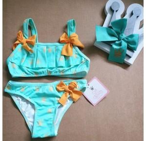 Bikini niña Menta de Eva Castro verde agua coronas