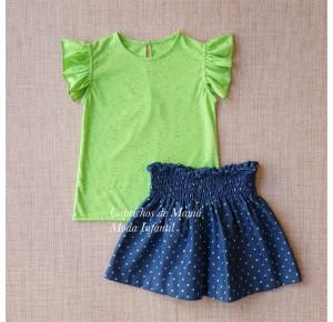 Conjunto niña de Baby Yiro camiseta flúor falda denim