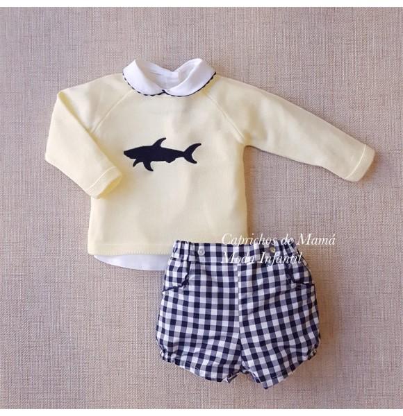 bonito diseño envio GRATIS a todo el mundo comparar el precio Conjunto bebé niño de Valentina Bebés vichy marino   Ropa Infantil