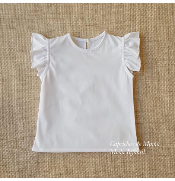 Camiseta niña de Baby Yiro blanca volantes