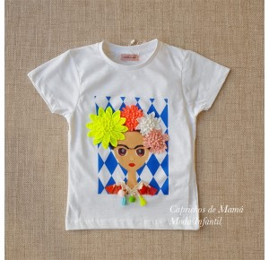 Camiseta niña Frida de Lunares en Mayo flores flúor