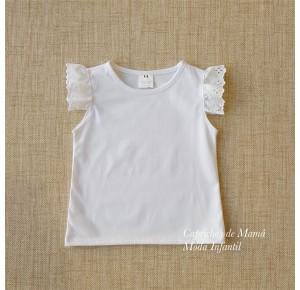 Camiseta niña de Baby Yiro blanca volante tira bordada