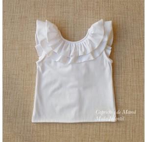 Camiseta niña de Baby Yiro blanca volantes cuello