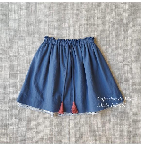 Falda niña de Mía y Lía azul tira bordada